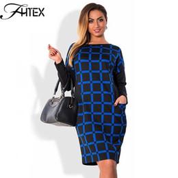 Wholesale Color Block Dresses Office - Autumn Winter Dress Women Plaid Patchwork Color Block Long Sleeve Plus Size 6XL Dress Elegant Shift Casual Slim Office Dress 17409