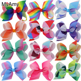 MyAmy 12pcs lot 6'' grosgrain ribbon hair bows WITH alligator hair clips boutique rainbows bow girls hairbow For Teens Gift HJ078+5.5CM Coupons