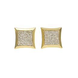 Wholesale Nickel Plated Steel - Men Hip Hop Earring Copper Nickel Shine Cz Rhinestone Crystal Gold Color Square Shape Stud Earrings Women Jewelry 15x15mm
