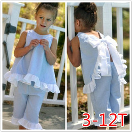 Wholesale Kids Vest Shorts - Summer Girls Bow Clothes Shorts Outfits Princess Plaid Ruffles Vest Shorts Children Kids Sleeveless Tops Short Pants Clothing Sets For 3-12T