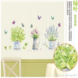 Wholesale Wall Flower Decals - Wall Stickers Butterfly Vase DIY Corridor Window Potted Flower Decal Home Decor Water Proof Pastoral Style Wallpaper 3 8ch F R