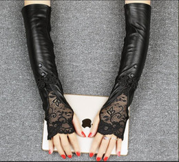 Wholesale Long Genuine Leather Gloves - Fashion New Women's Genuine Leather Fingerless Gloves Spring Winter Evening Party Sheepskin Long Lace Gloves Warm High Quality