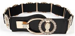 Wholesale Wholesale Leather Bling Belts - Wholesale- Elastic Rhinestone Mirror Metal Waist Belt Metallic Bling Gold Plate Wide Obi Band for Women Female Accessories Dress Belts