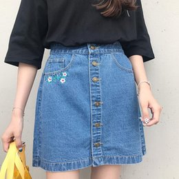 Wholesale Boyfriend High Waisted Jeans - 2017 Summer High Waisted Single Breasted Embroidery Flower Slim Denim Skirts Jeans Femme Women Boyfriend Jeans Skirt for Women