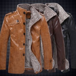 Wholesale Mens High Fashion Leather Jackets - Fashion Mens PU Leather Jacket High Quality Plus Size Business Casual Male Leather Motorcycle Jackets Coats