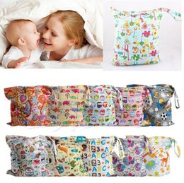 Wholesale Washable Nappy Bags - 48 design Baby Nappy Reusable Washable Wet Dry Cloth Zipper Waterproof Diaper Bag Infant Nappy Stacker Storage Bag KKA2247
