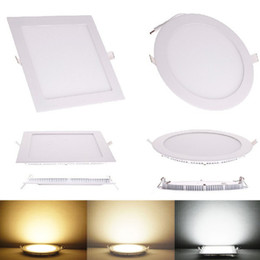 Wholesale Led Slim Cabinet Light - 20pcs lot Ultra Thin Brighter Dimmable 3W 6W 9W 12W 15W 25WLED Ceiling Recessed Grid Cabinet Downlight Slim Round Panel Light