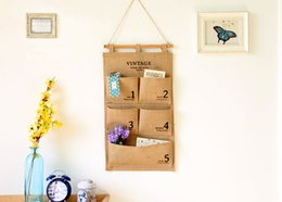 Wholesale Wall Hanging Storage Pockets - 2017 new storage bags Debris collection Home Storage Organization digital Five pocket Wall hanging Home Decoration wholesale free shipping