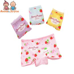 Wholesale Strawberry Boxers - 6pc lot New Strawberry Teddy Bear Cartoon Printed Baby Panties Baby Underwear Cotton Children's Underwear TNN0072