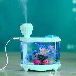 Wholesale Humidifier Tank - Creative Fish Tank Humidifier Household Mini USB Air Humidifier Beautiful Night Light DC5V 460ML Diffuser Mist Maker