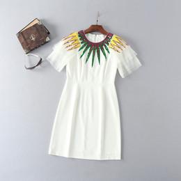 Wholesale Brand Fashion Line - 2018 Spring Brand Same Style Dress Sequins Empire Polyester Above Knee Short Sleeve Crew Neck Fashion Prom Dress LI