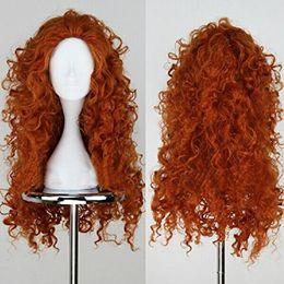 Wholesale Brave Merida Wig - princess merida Movie Brave Long Curly Princess Merida Cosplay Wig for Cosplay orange hair with hair net