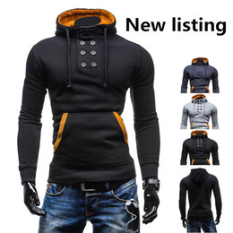 Wholesale Hot Breast Sexy - hot Fashion Grey black Mens Slim Fit Sexy Top Designed Hoodies Sweatshirts Men's Clothing