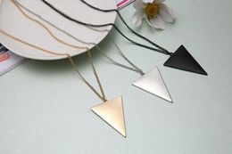 Wholesale Womens Silver Long Necklaces - New Pendant Necklaces Retro Punk Style Gold Silver Black Long Necklace Fashion Womens Punk Triangle Pendant Retro Chain Sweater Jewelry A292