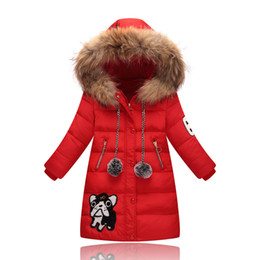 Wholesale Girl S Long Coat Down - Teenage Girl Fashion Winter Coat Kids Thick Warm Down Jackets Children Fur Collar Hooded Long Duck Down Coats Girls Winter Patchwork Clothes