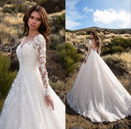 Wholesale Sheer Rhinestone Dresses - Ivory Tulle Princess Wedding Dresses 2018 Rhinestone Appliques V-neck Long Sleeves Bride Gowns for Dubai Saudi Arabia Vestido De Novia