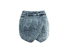 Wholesale Tall Shortest Skirt - sexy Tall waist shorts denim hot pants big size Europe and the United States new cross-stacked irregular barbed wide leg denim short skirt