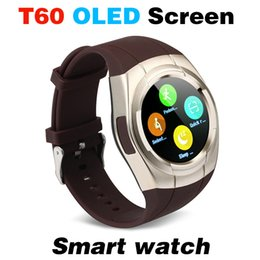 Wholesale Blood Pressure Automatic - T60 Smart watch mobile phone watch waterproof automatic voice dial GSM SIM TF phone FM radio music smart watches pedometer camera alarm