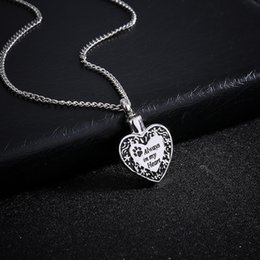 Wholesale Flower Puppies - Heart Urn Pendant Cremation Ashes Necklace Memorial Personalized Locket Necklace Engraved Puppy Claw Always In Mu Hearts Jewelry