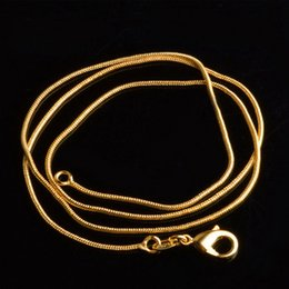 Wholesale Gold Horseshoe Charms - 1mm 18K Gold Round Snake Chains Fine 16-30 Inches Link Chain Choker Necklace 18kgp DIY Jewelry Making Accessories