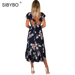 Sibybo rüschen floral runway dress sexy tiefem v-ausschnitt rückenfrei schnüren bandage boho sommer dress casual print high low beach dress von Fabrikanten