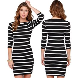 Wholesale Dresses F - summer dresses for womens Fashion dress clothes white black Stripes Half Sleeve Knee Length Casual Off the Shoulder Pencil Dresses LYQ61-F