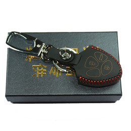 Wholesale Leather Key Fob Covers - Leather Key fob cover for toyota Hilux Vitz Rav4 Aqua Camry Highlander Land Cruiser Pardo 3 button remote repair