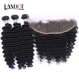 Wholesale Deep Wave Virgin Lace Frontal - Ear To Ear 13x4 Lace Frontal Closures With 3 Bundles Brazilian Peruvian Indian Malaysian Deep Wave Curly Virgin Human Hair Weaves 8A Grade