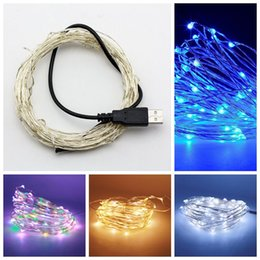 Wholesale Copper Wire String Lights Wholesale - USB 5V LED String Light 5M 50leds 10M 100LEDS Sliver Copper Wire Fairy Light For Holiday wedding Home Party Decoration
