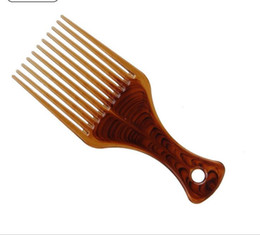 Wholesale Wide Tooth Comb Wholesale - Big Size Wide Tooth Flat Comb Hair Fork Comb Insert Afro Hair Pik Lift Disc Combs Amber Carbon Antistatic