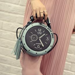 Wholesale Wholesale Clock Purse - Wholesale- 2016 new design fashion cute clock circular shape bag tassel handbag women's shoulder bag mini purse across body messenger bag