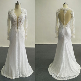Wholesale Lace Mermaid Sweetheart Wedding Dress - 2016 New Sexy Wedding Dresses Applique Beads Covered Buttons Mermaid Crew Cap Sleeves Backless Court Train Chiffon Wedding Dresses Dhyz 01