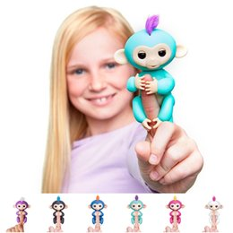 Wholesale Kids Gift Bulk - Bulk Lots 6 Colors Electronic Monkey Kay Chain Fingerlings Dolls Key Ring  Christmas Gifts for Kids