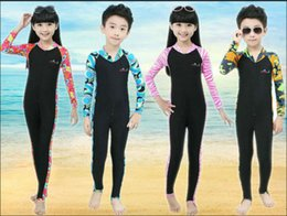 Wholesale Boys Swim Suits - Wholesale Dropshipping Boys Girls Chridren full body diving suit anti-uv One-Piece swimming wetsuit warm snorkeling clothing