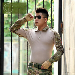 Wholesale Gray Combat Shirt - Spring Autumn Europe China US Army Camouflage Military Combat Shirt Multicam Uniform Militar Shirt Quick Dry Hunting lapel Tactical Clothes