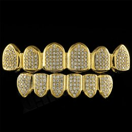 Wholesale Grill Sets - New Men Custom Fit Gold Plated All Iced Out Luxury AAA Zircon Rhinestone Top & Bottom Gold Grillz Set Hop HIP teeth Gift
