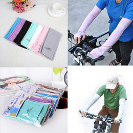 Wholesale Wholesale Arm Cooler Golf - 38cm length Hicool Cool Golf Arm Sleeve Sun Protection UV Protector Summer Sports Cycling Arm Sleeve Arm Warmers 7 Colors with retail pack