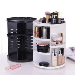 Wholesale Function Rotation - Plastic Storage Rack Three Colors Desktop Cosmetics Organizer 360 Degree Rotation Multi Function Box High Capacity Durable 28ly B R