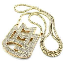 "Wholesale Gold Initials - CARA 2017 new ICED out MAYBACH MUSIC GROUP MMG Pendant & 36""Franco chain maxi necklace hip hop necklace EMEN'S chokers necklace jewelry"