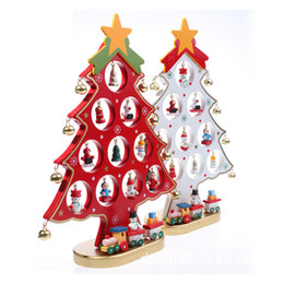 Wholesale Desk Ornament - 1PC DIY Cartoon Wooden Christmas Tree Decoration Christmas Gift Ornament Table Desk Decoration 3 Colors 0708063