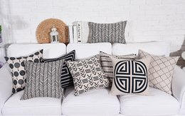 Wholesale Gray Chevron Pillows - Free shipping Gift geometric triangles zigzags chevrons Greek Keys leaf lantern pattern linen Cushion Cover home cafe decorative pillow Case