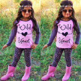 Wholesale Children Pcs Summer Set - 2017 Baby Girl Fashion Clothes Suit Children Summer 3 pcs Sets Girls Cotton Short sleeve T-shirt Ruffled Pants Headband Sets Kids Clothing