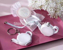 Wholesale Measuring Favor - Wholesale-New Wedding Gift Love is Brewing Teapot Measuring Tape Teapot Tapeline Wedding Keychain Favors