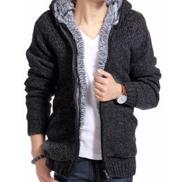 Wholesale Thick Hooded Cardigan Sweater - Hot Sale Jacket Men Thick Velvet Cotton Hooded Fur Jacket Mens Winter Padded Knitted Casual Sweater Cardigan Coat Outdoors Parka