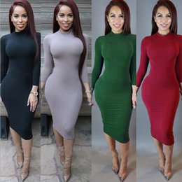 Wholesale Long Sleeve Tight Black Dress - Womens Casual Cowl Neck Fashion Autumn Tight Long Dress Ladies Turtle Neck Long Sleeved Solid Color Fall Bodycon Midi Dresses