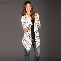 Wholesale Long Cardigan Thin Sweater - Wholesale-2016 autumn Striped Women Cardigan Long Sleeve elbow patchwork knitted Sweaters stripes Cotton cardigan Long women Tops