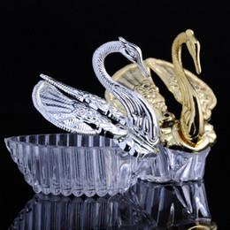 Wholesale Sweet Candy Box Silver - 300pcs European Styles Acrylic Silver Swan Sweet Wedding Gift Jewely Candy Box Candy Gift Boxes Wedding Favors Holders