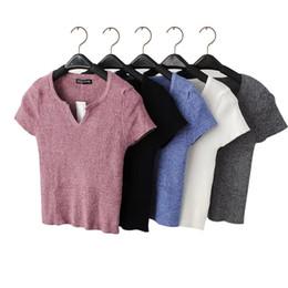 Al por mayor-2T23 Moda 2016 Mujeres American Style Sexy recortada de punto camisetas de manga corta con cuello en V camisas Stretch casual fit Brand Tops desde fabricantes