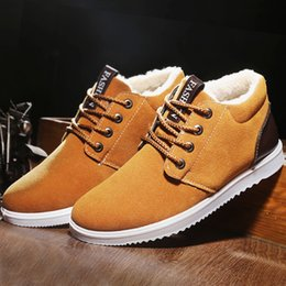 Wholesale Cheap Winter Snow Waterproof Boots - Wholesale-Winter shoes men boots waterproof 2016 short plush warm shoes cheap flat with ankle boots for men snow booties suede 39-44