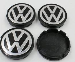 Wholesale Vw Center Caps - For VW Volkswagen 55mm Wheel Center Cap Dustproof Cover Wheel Hub Cap Flat Face Emblem Badge For Volkswagen 6N0601171 High Quality